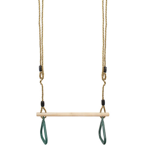Swing with Gymnastics Rings, Wooden Trapeze Swing, Grün, 200 cm, Material: Kunststoff (PP, PE), Holz