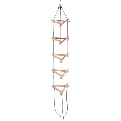 Swingan Kids 3D Triangle Rope Ladder with 5 Wooden Rungs | Children Playground Sets & Accessories for Outdoor Garden, Tree House, Climbing Frames, Swing Set