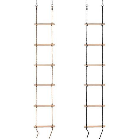 Swingan Kids Rope Ladder with Wooden Rungs | Children Playground Sets & Accessories for Outdoor Garden, Tree House, Climbing Frames