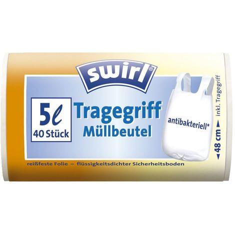 swirl Müllbeutel antibakteriell 5 l, 40 Stück mit Tragegriff