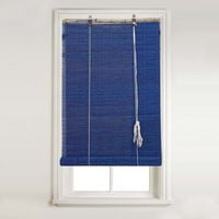 Swish Matchstick Bamboo Roll Up Roller Window Blind - Trimmable - Blue Indigo (120cm Wide x 160cm Drop)