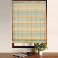 Swish PVC Bamboo Effect Roller Blind Window Roll Up Blind - Trimmable - Blue and Cream (120cm Wide x 160cm Drop)