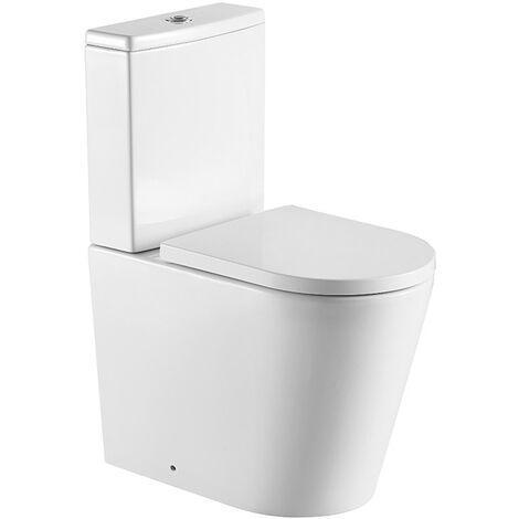 Swiss Aqua Technologies Brevis WC à poser Haut de gamme, sans bride + abattant softclose, alimentation latérale éco, vidage universel (SATBRE031RREXVP)