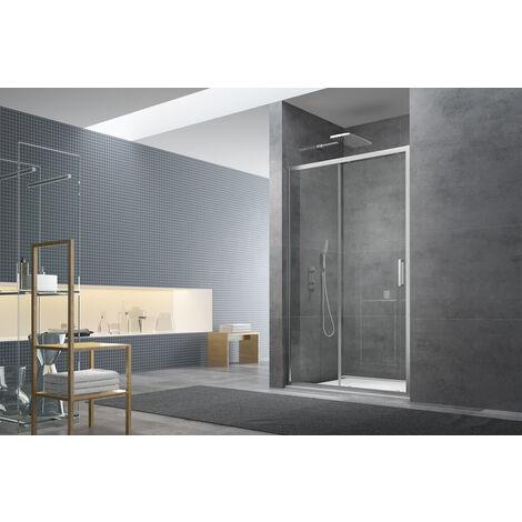 Swiss Aqua Technologies Tex Set complet Porte de douche coulissante verre transparent Easy Clean, glissières silencieuses 140x195cm (TEXD140CRT01)