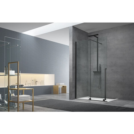 Swiss Aqua Technologies Walk-in X Motion Set complet Porte de douche coulissante verre transparent Easy Clean 110x200cm, montage Noir (WIXM110ZAV1CC)