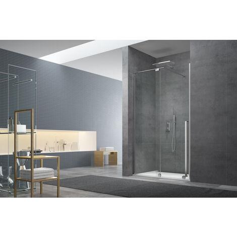 Swiss Aqua Technologies Walk-in X Motion Set complet Porte de douche coulissante verre transparent Easy Clean 140x200cm, montage Chrome (WIXM140ZAV1C)