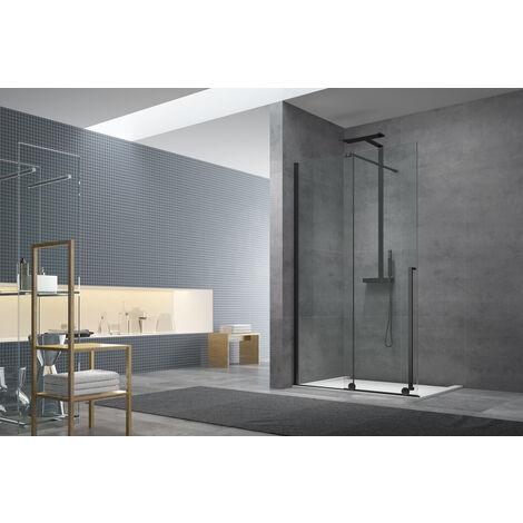 Swiss Aqua Technologies Walk-in X Motion Set complet Porte de douche coulissante verre transparent Easy Clean 140x200cm, montage Noir (WIXM140ZAV1CC)