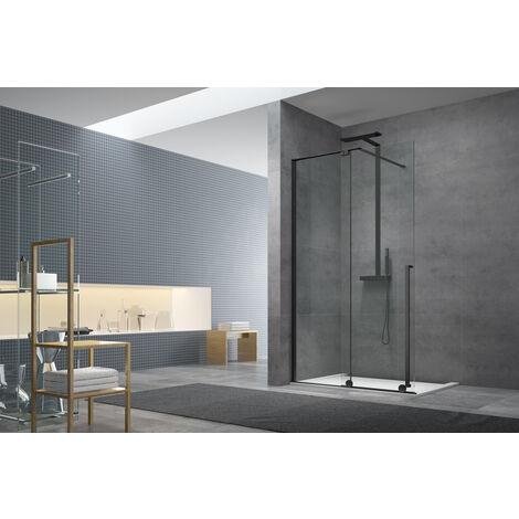 Swiss Aqua Technologies Walk-in X Motion Set complet Porte de douche coulissante verre transparent Easy Clean 140x200cm, montage Noir (WIXM140ZAV1CN)
