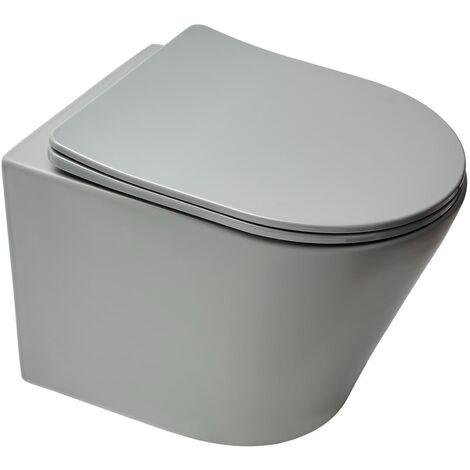 Swiss Aqua Technologies WC suspendu Infinitio gris mat sans bride et fixations invisibles + abattant frein de chute (GreyInfinitio)