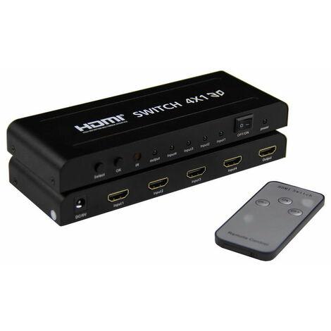 Switch Conmutador HDMI 4x1 4k2k función PIP Yatek YK-0401P con soporte a formato 3D y mando a distancia