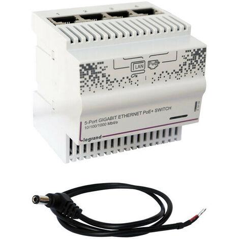Switch modulaire pour mise en réseau informatique 4 sorties RJ45 1Gigabit IP20 IK04 4 modules (413009)