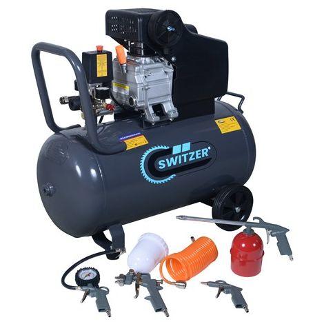 SwitZer 2.5HP Air Compressor 50L AC004 With 5PCS Kits Grey