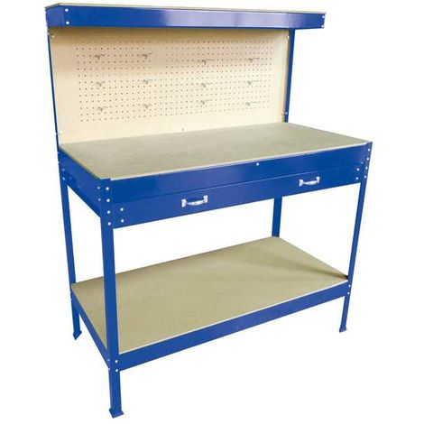 SwitZer Steel Garage Workbench With Drawers Pegboard Blue
