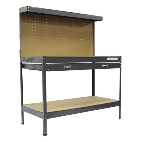 """main image of """"SwitZer Steel Garage Workbench With Drawers Pegboard Grey"""""""
