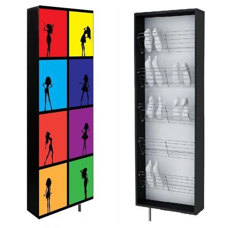 SWIVBOX | Armoire à chaussures porte pivotante 190x63.6x18 cm | 5 étagères acier| Impression UV | Meuble de rangement mural | Rouge