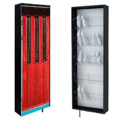 SWIVBOX | Armoire à chaussures porte pivotante | 190x63.6x18 cm | 5 étagères en acier | Impression UV | Meuble rangement | Rouge