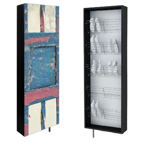 SWIVBOX | Armoire à chaussures porte pivotante 190x63.6x18cm | 5 étagères 15 paires | Impression UV | Meuble de rangement mural | Bleu