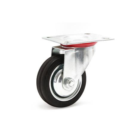 Swivel castor Ø100mm Rubber wheel Metal rims 70kg Load capacity Transport trolley Furniture castor