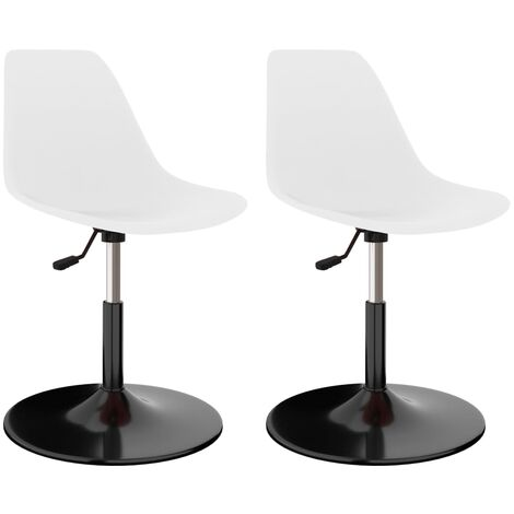Swivel Dining Chairs 2 pcs White PP
