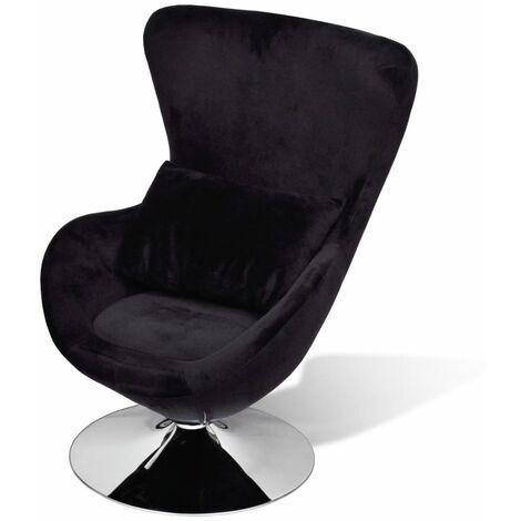 Swivel Egg Chair with Cushion Black Velvet