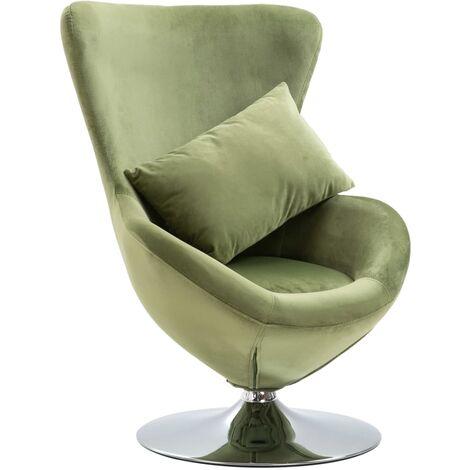 Swivel Egg Chair with Cushion Light Green Velvet