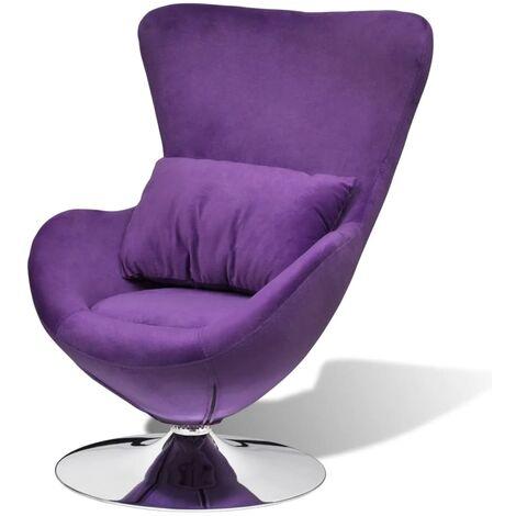 Swivel Egg Chair with Cushion Purple Velvet