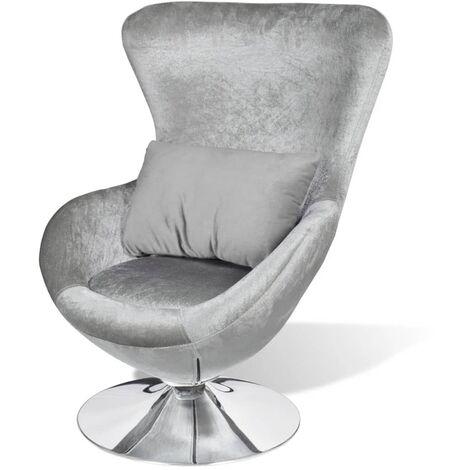 Swivel Egg Chair with Cushion Silver Velvet