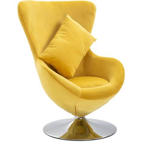 Swivel Egg Chair with Cushion Yellow Velvet