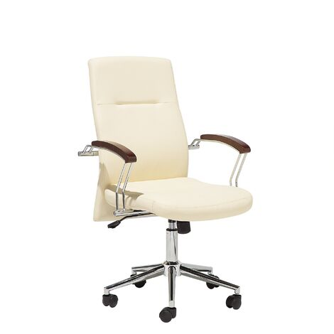 Swivel Faux Leather Office Chair Beige ELECT