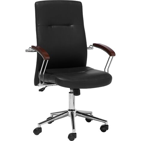 Swivel Faux Leather Office Chair Black ELECT