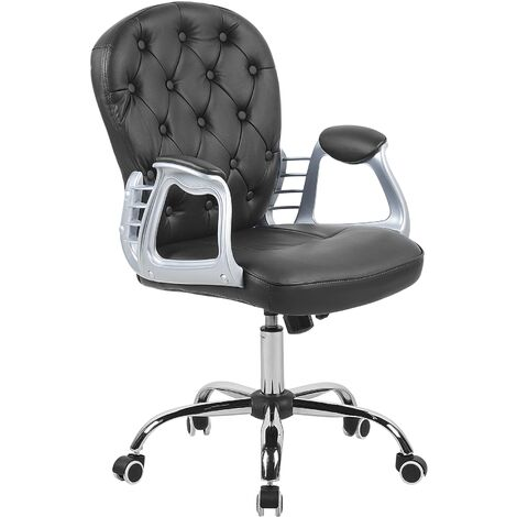 Swivel Faux Leather Office Chair Black PRINCESS
