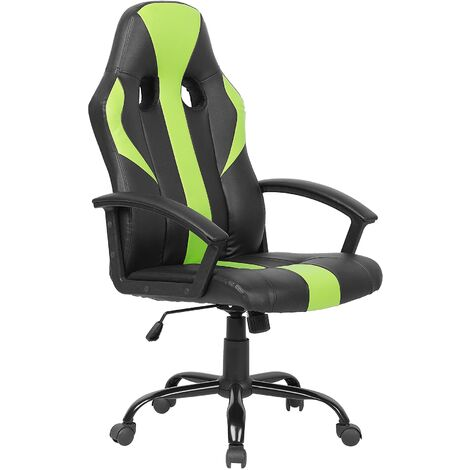 Swivel Faux Leather Office Chair Green SUCCESS