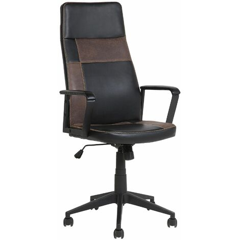 Swivel Office Chair Black with Brown DELUXE