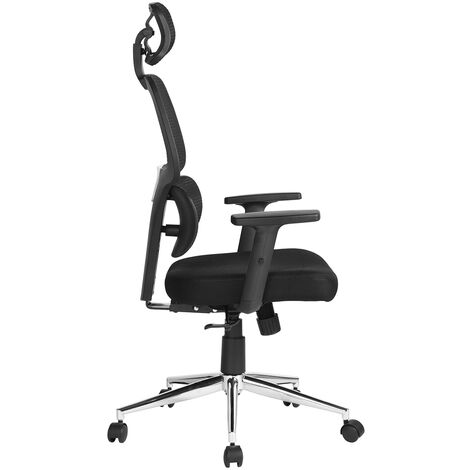 Swivel office chair, office chair, mesh, adjustable armrest height, with headrest, black