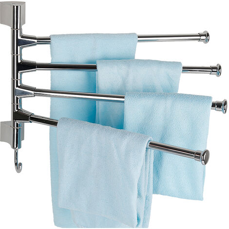 Swivel Towel Rail Stainless Steel Bathroom Towel Holder with 4 Swing Bars Wall Mount Polished Finish