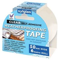 Sylglas 8620007 Weather Proofing Tape Clear 50mm x 6 Metre