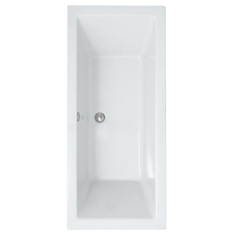 Synergy Berg Cubic 1700 x 750mm No Tap Holes Standard Double Ended Bath - size 1700 x 750mm - color White