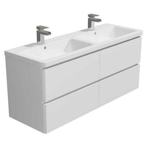 "main image of ""Synergy Linea 1200mm White Double Wall Unit Synergy Linea 1200mm Double Basin"""