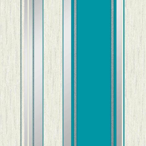 Synergy Stripe Wallpaper Crown Teal Silver Grey Glitter Textured Vinyl