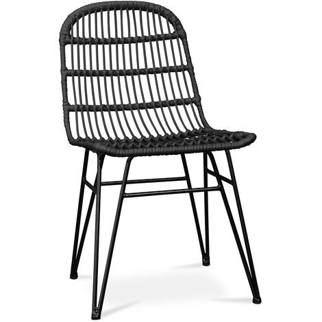 Synthetic wicker dining chair