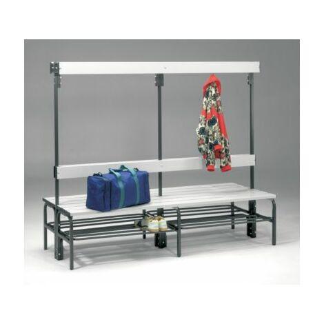 Sypro Umkleidebank aus Stahl für Feuchträume - HxT 1600 x 695 mm - L 2000 mm,