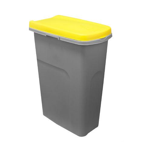 System-Mülleimer verbindbar 25L mit Klappdeckel - Grau gelber wasserfester Abfalleimer Abfallbehälter Müllbehälter - Ideal für Küche und Draußen