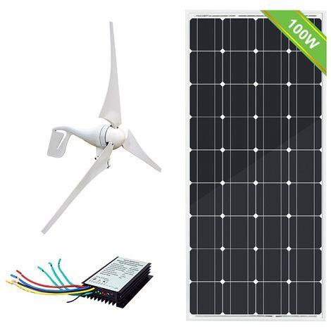Système complet de maison solaire éolienne hybride 500W / H 12V Générateur 400W Panneau mono 100W