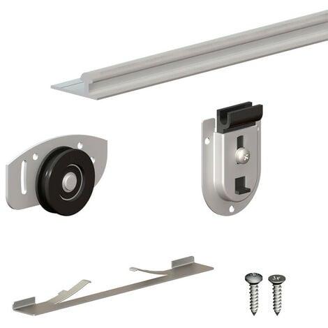 Système coulissant SLID'UP 130 pour 2 ou 3 portes de placard - rail 1,94 m - 70 kg - Argent