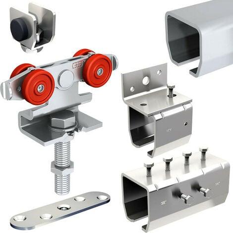 Système coulissant SLID'UP 2000 pour 1 porte extérieure 27 mm max - rails 2 x 1,95 m acier galvanisé - 60 kg