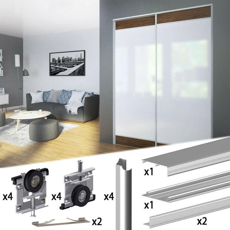 kit profil pour porte de placard coulissante Kit SLIDu0027UP 210 aluminium anodisé naturel pour 2 portes de placard  coulissantes 16 mm - rail 1,8 m - 70 kg - SU5151