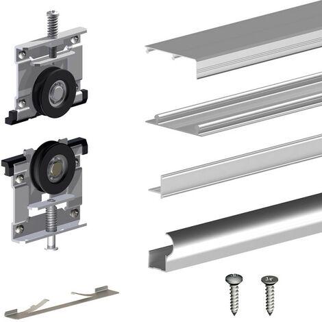 kit slid 39 up 230 aluminium anodis naturel pour 2 portes de. Black Bedroom Furniture Sets. Home Design Ideas
