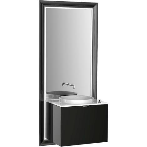 Système d'ameublement Emco touch 600 classic, sans coffret électrique, miroir, lave-mains, mitigeur, mitigeur, meuble-lavabo, Exécution: Cadre : noir, socle : noir - 954229400