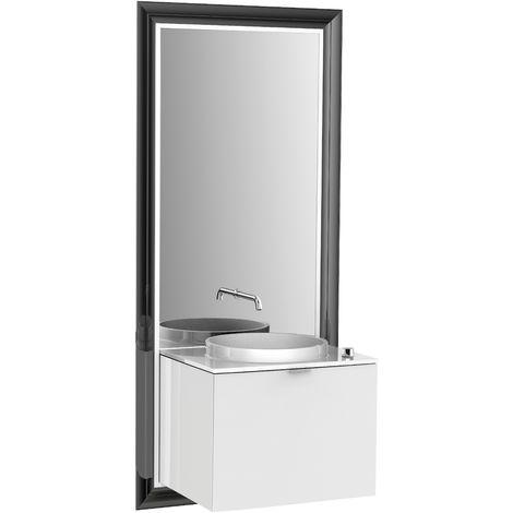 Système d'ameublement Emco touch 600 classic, sans coffret électrique, miroir, lave-mains, mitigeur, mitigeur, meuble-lavabo, Exécution: Cadre : noir, socle : optiwhite - 954229300
