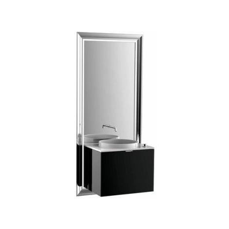 Système d'ameublement Emco touch 600 classic, sans coffret électrique, miroir, lave-mains, mitigeur, mitigeur, meuble-lavabo, Exécution: Piétement : chromé, Meuble bas : noir - 954227900
